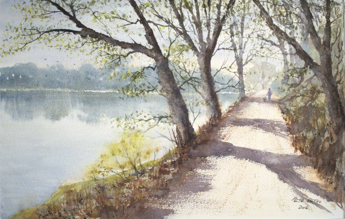 Afternoon Stroll - Watercolour on Arches Rough paper. 140lb. 1/2 Imperial