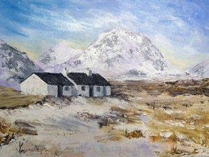 """Black Rock Cottage - Rannoch Moor. Acrylic on Canvas Board. 16"""" x 12""""."""