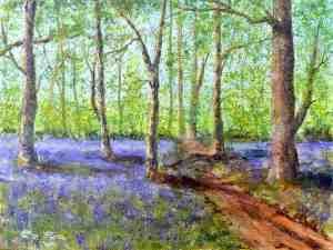 "Bluebells at Lanhydrock. Acrylic on Canvas Board. 16""x12"". SOLD"