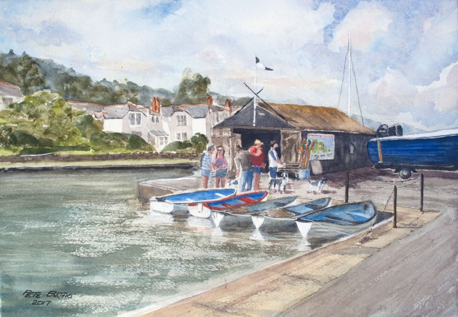Budehaven Boat Hire. Watercolour on Arches NOT paper. 140lb. 1/4 Imperial.