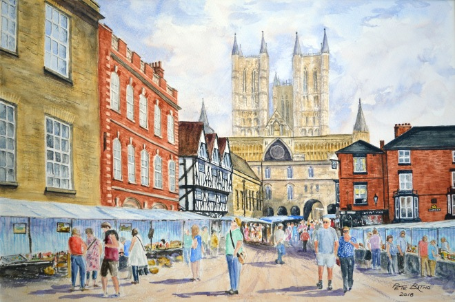 Lincoln Market Day - Watercolour on Bockingford NOT 200lb paper. 1/2 imperial.