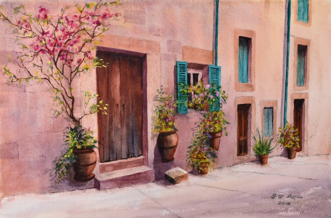 Mallorca - After Geoff Kersey. Watercolour on W&N NOT paper. 300lb. 1/2 imperial.