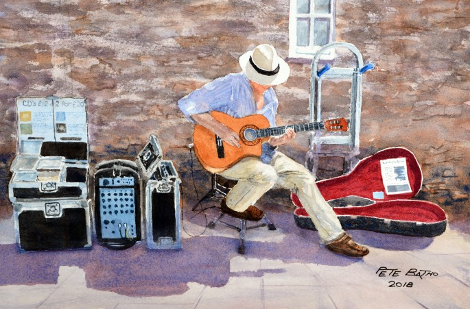 The Maestro At Work - Watercolour on Arches NOT paper. 140lb. 1/4 imperial.