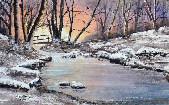 Golitha Falls in Winter. Watercolour on Arches rough paper. 140lb. 1/2 imperial.