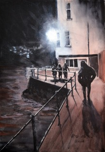 Night Time in St. Ives - Watercolour on Arches NOT. 140lb. 1/4 imperial