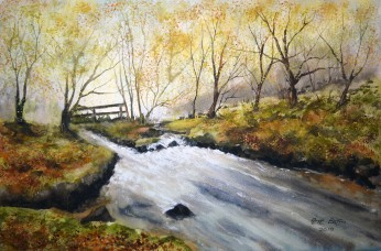 Golitha Falls In Autumn. WAtercolour on Arches NOT paper. 140lb. 1/2 imperial