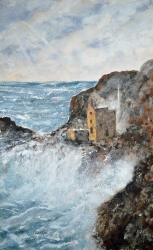 Raging Storm At Botallack. Watercolour on Arches Rough paper. 140lb. 1/2 imperial