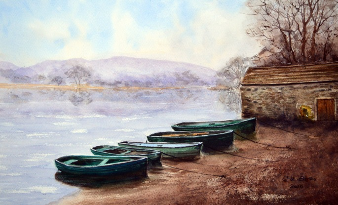 A Quiet Day At The Boathouse. Watercolour on Fabriano Artistico paper. 1/2 imperial.