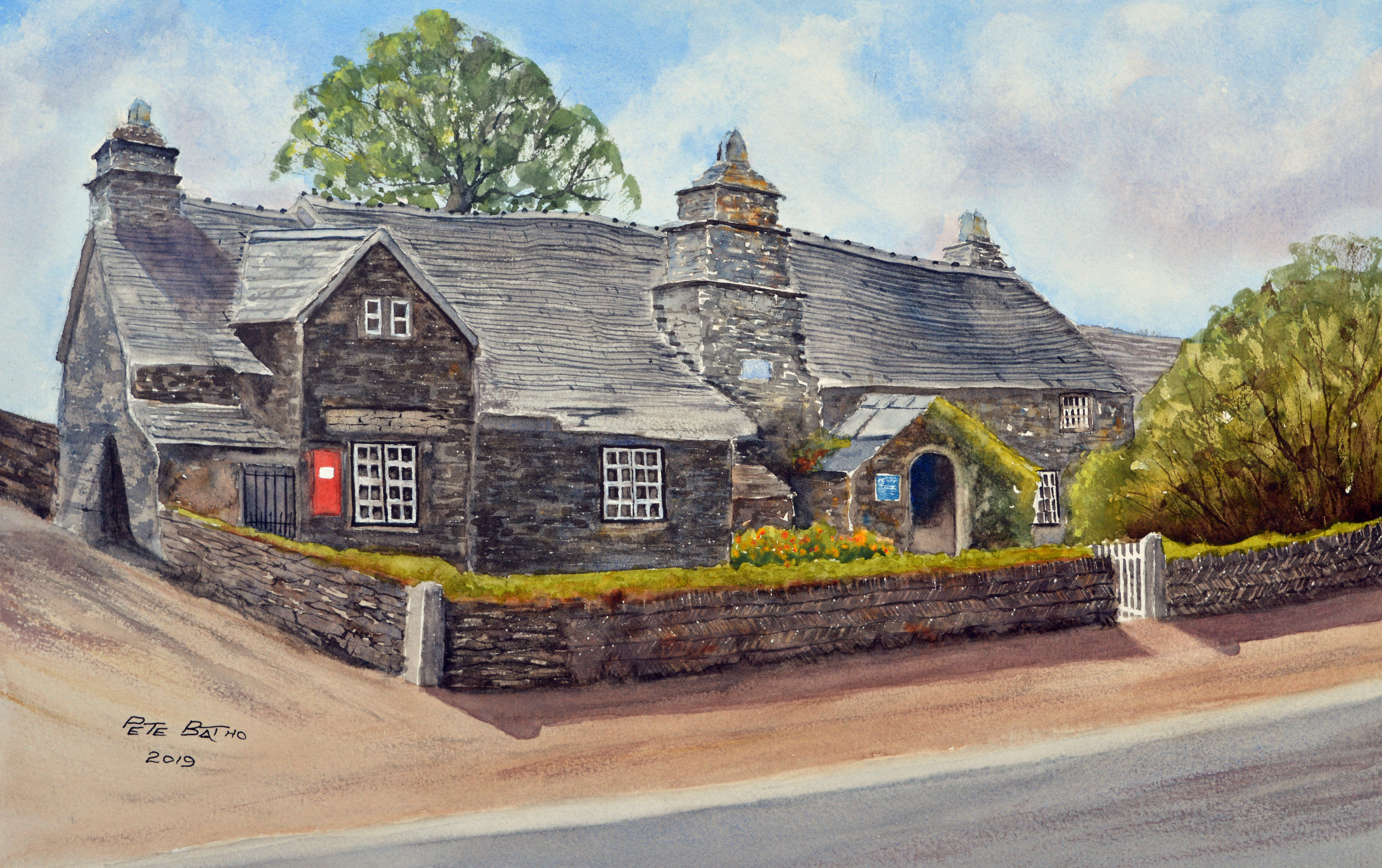 The Old Post Office - Tintagel. Watercolour on Arches CP paper. 1/2 imperial.