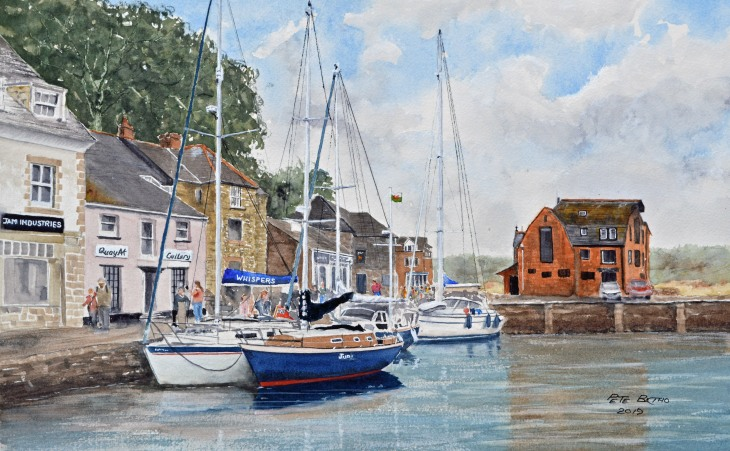 Padstow Harbour. Watercolour on Arches CP paper. 140lb. 1/2 imperial