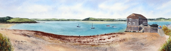 """Rock Panoramic View. Watercolour on Arches rough. 140lb. 30"""" x 11"""""""