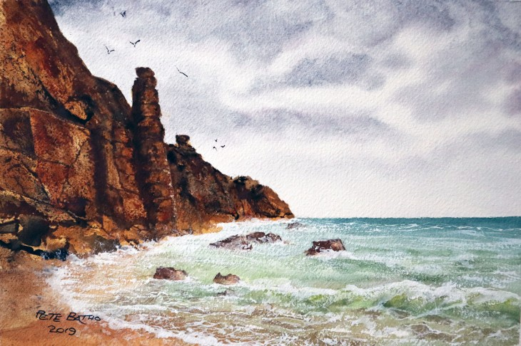 Storm Brewing At Porthgwarra Cove. Watercolour on Arches rough paper. 140lb. 1/4 imperial