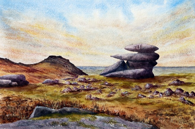 Showery Tor. Watercolour on Two Rivers CP paper. 300lb. 1/2 Imperial