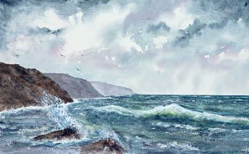The Restless Sea - Watercolour on Arches rough paper. 140lb. 1/2 imperial